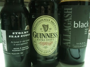 Stormy Seas, Guinness Extra, and Allagash Black